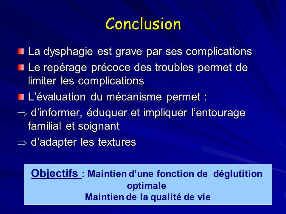 Conclusion La dysphagie est grave par ses complications