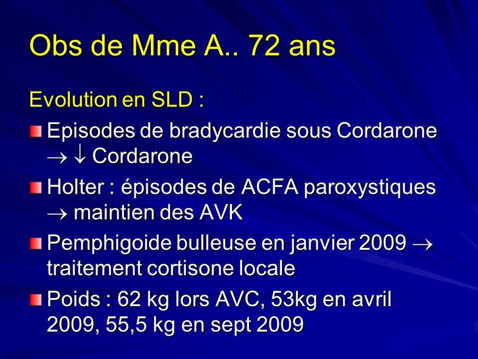 Obs de Mme A.. 72 ans Evolution en SLD :