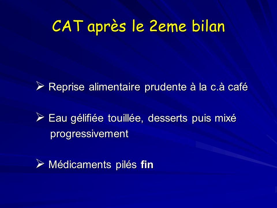 CAT après le 2eme bilan Reprise alimentaire prudente à la c.à café