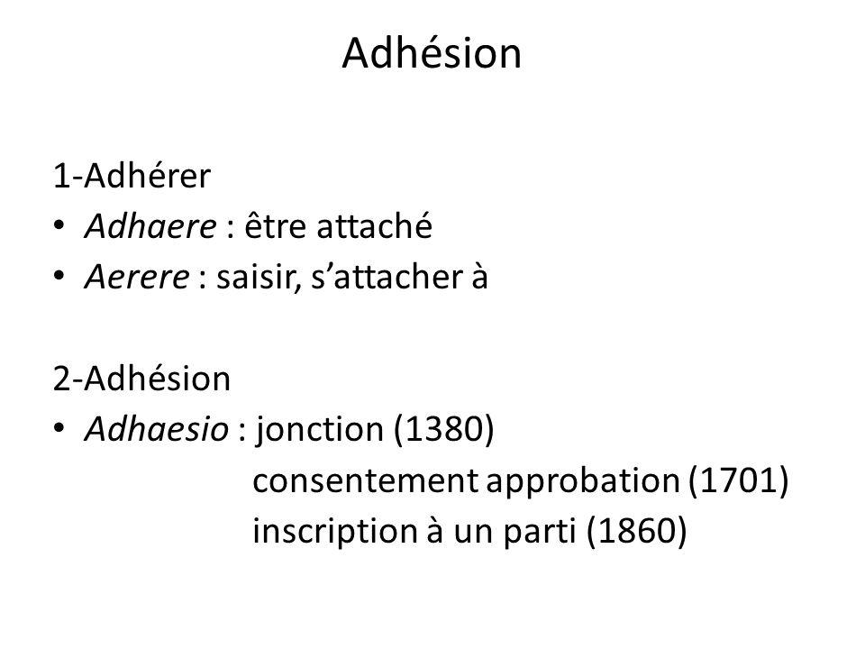 Adhésion 1-Adhérer Adhaere : être attaché