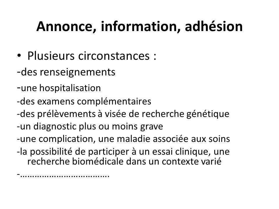 Annonce, information, adhésion