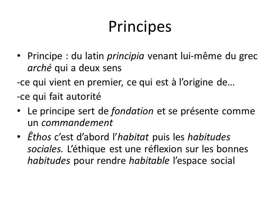 Principes Principe : du latin principia venant lui-même du grec arché qui a deux sens. -ce qui vient en premier, ce qui est à l'origine de…