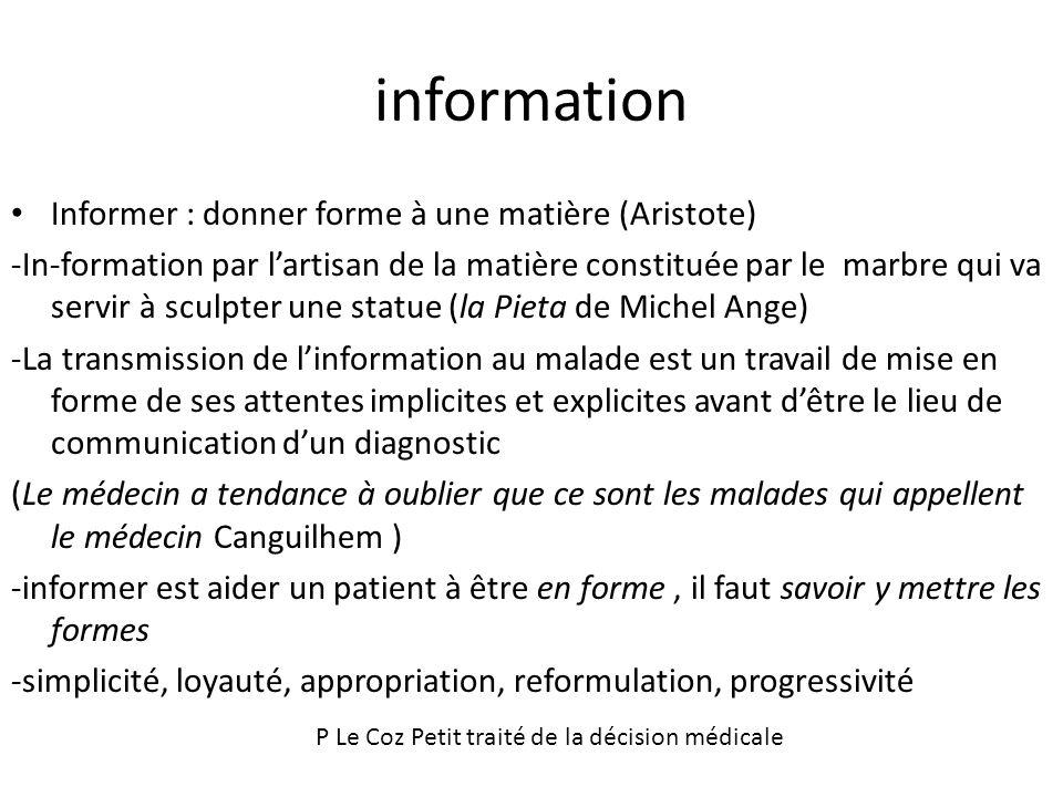 information Informer : donner forme à une matière (Aristote)