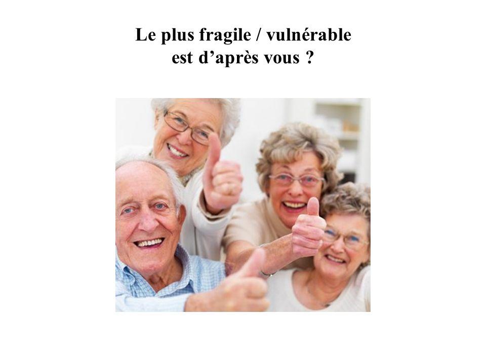 Le plus fragile / vulnérable est d'après vous