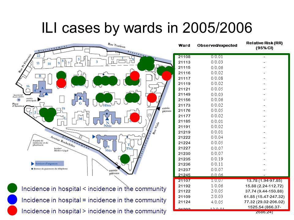 ILI cases by wards in 2005/2006 Ward. Observed/expected. Relative Risk (RR) (95% CI) 21108. 0/0.01.