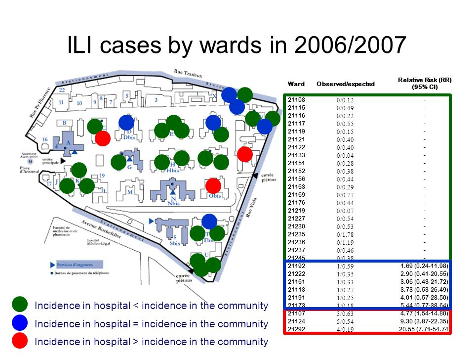 ILI cases by wards in 2006/2007 Ward. Observed/expected. Relative Risk (RR) (95% CI) 21108. 0/0.12.