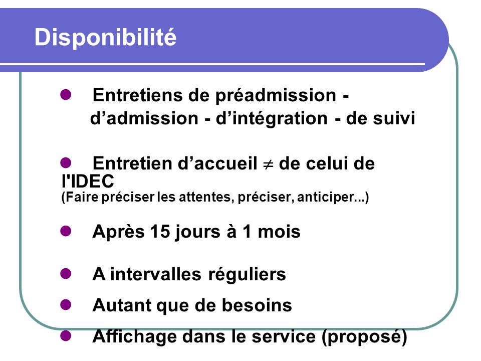 Disponibilité Entretiens de préadmission -