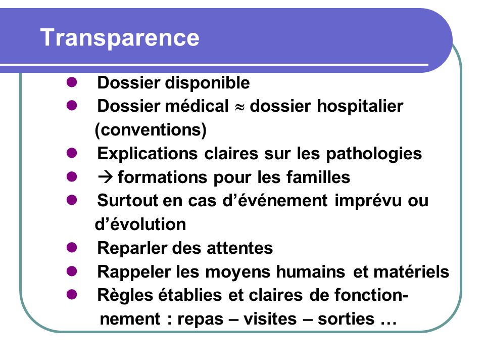 Transparence Dossier disponible