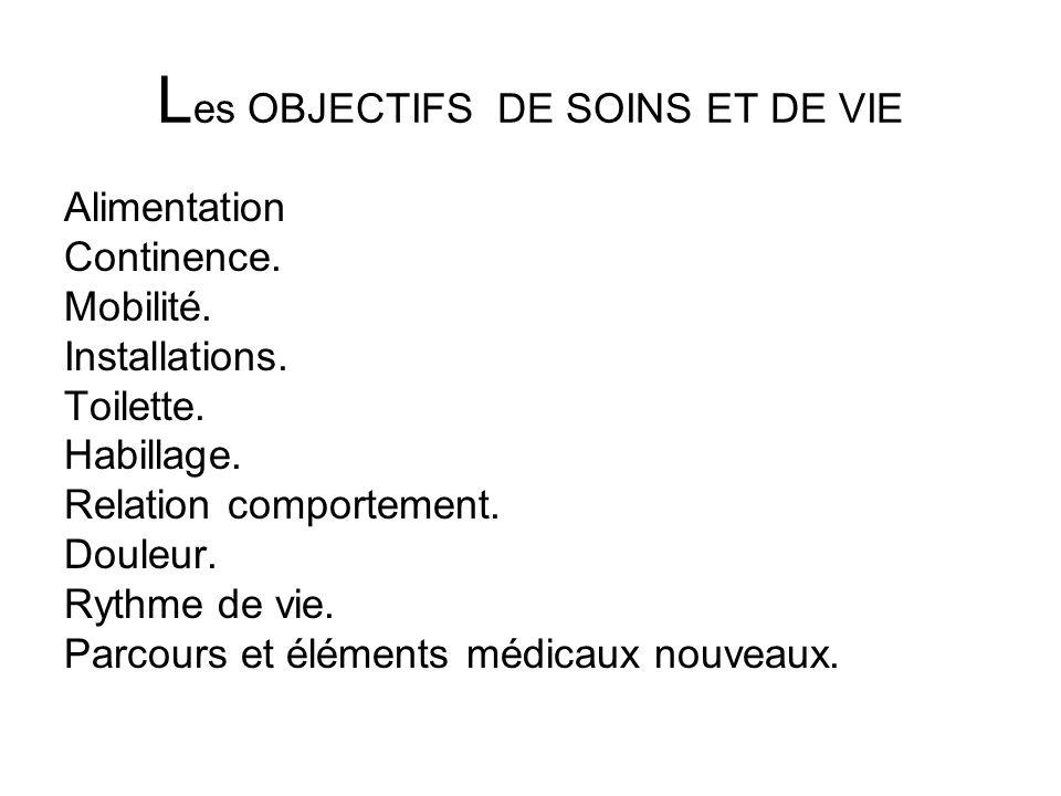 Les OBJECTIFS DE SOINS ET DE VIE