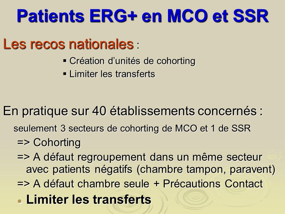 Patients ERG+ en MCO et SSR