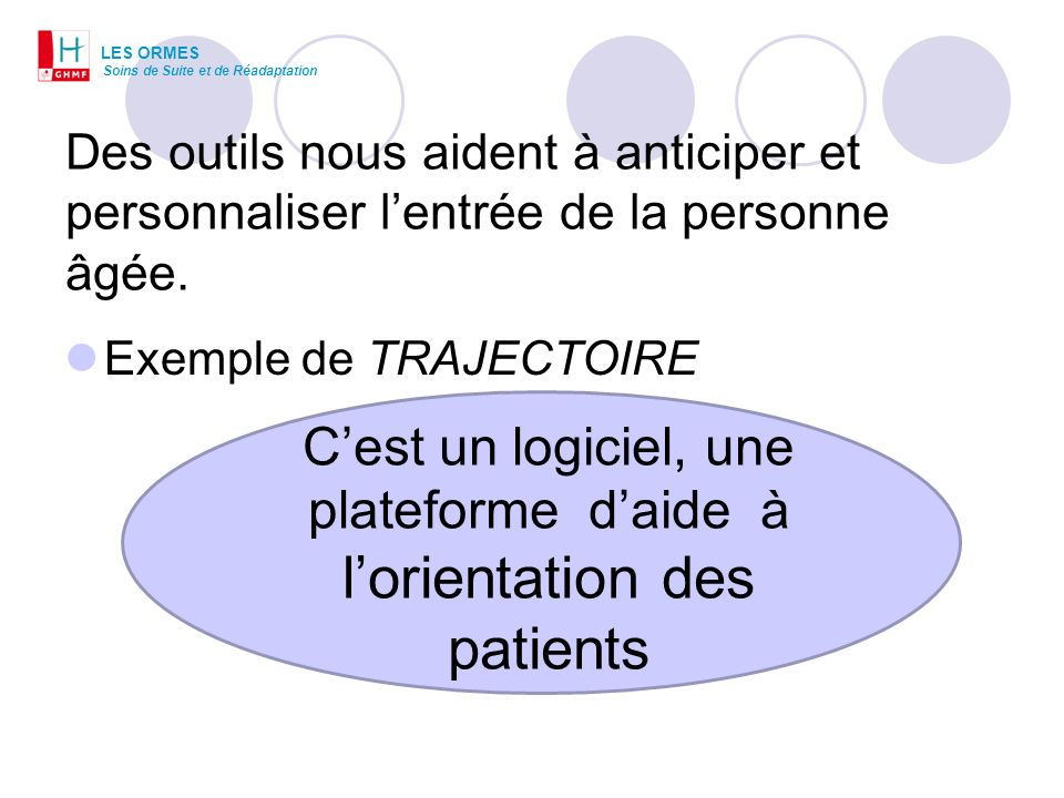 C'est un logiciel, une plateforme d'aide à l'orientation des patients