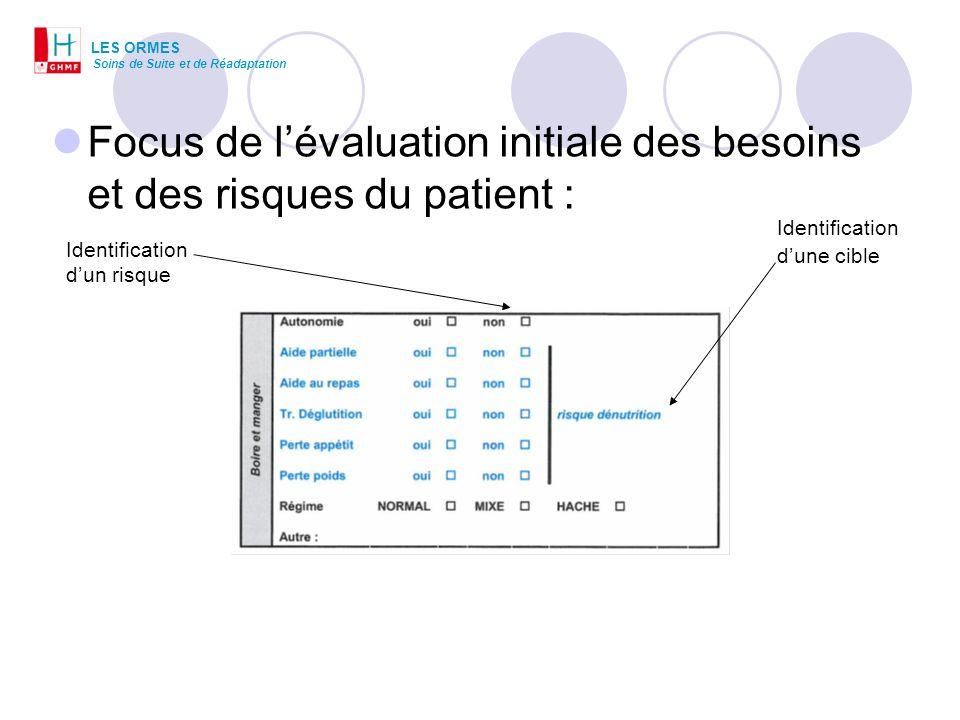 Focus de l'évaluation initiale des besoins et des risques du patient :