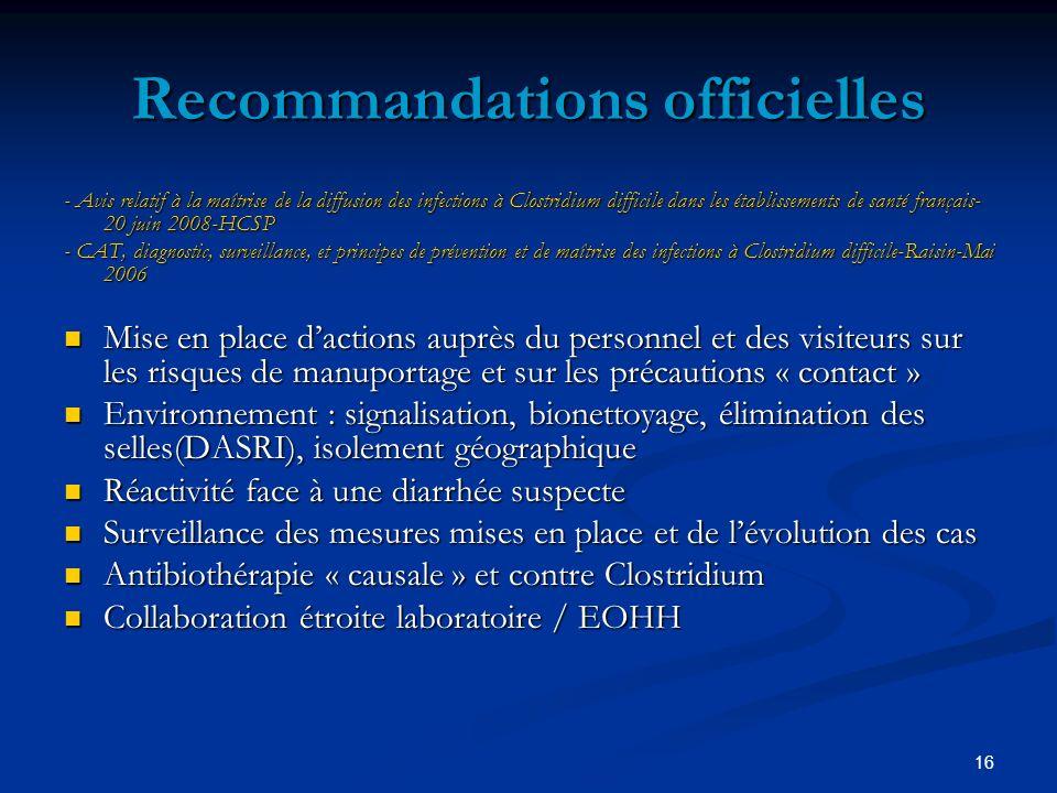 Recommandations officielles