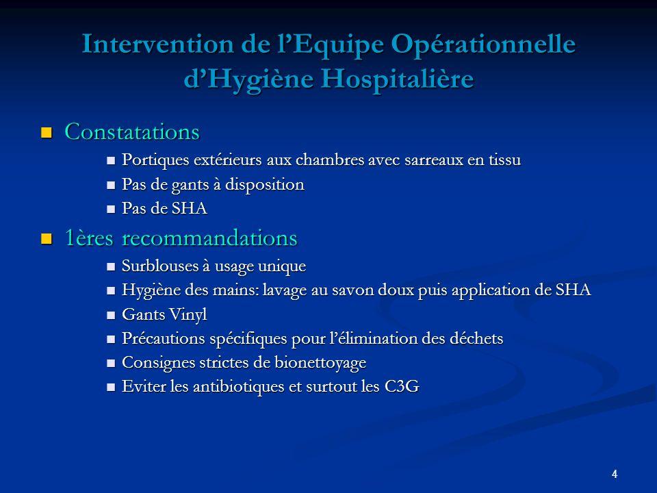 Intervention de l'Equipe Opérationnelle d'Hygiène Hospitalière