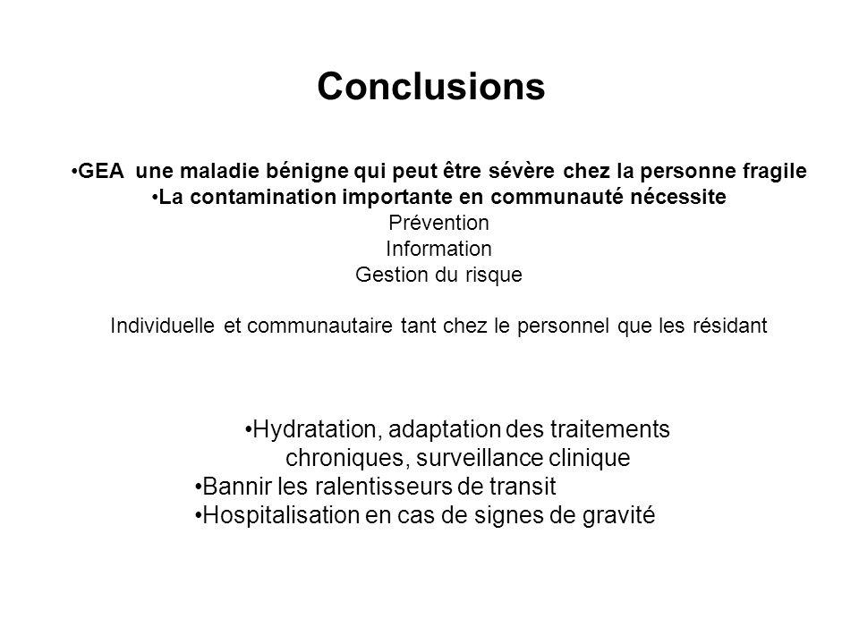 Conclusions GEA une maladie bénigne qui peut être sévère chez la personne fragile. La contamination importante en communauté nécessite.