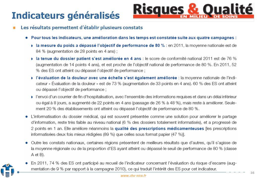 Indicateurs généralisés