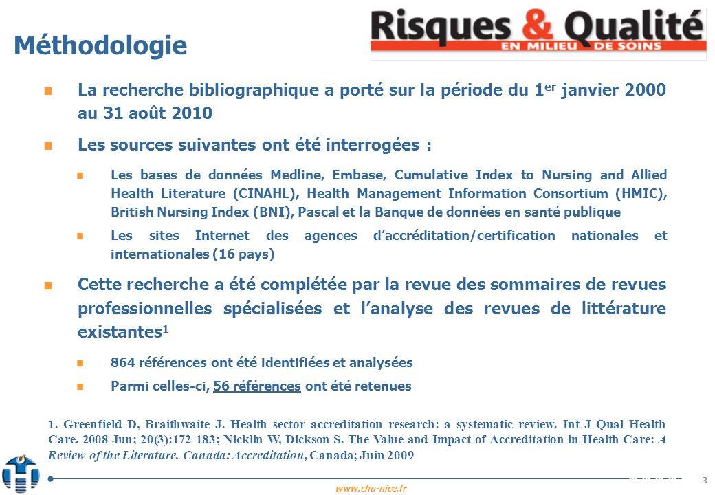 Méthodologie La recherche bibliographique a porté sur la période du 1er janvier 2000 au 31 août 2010.