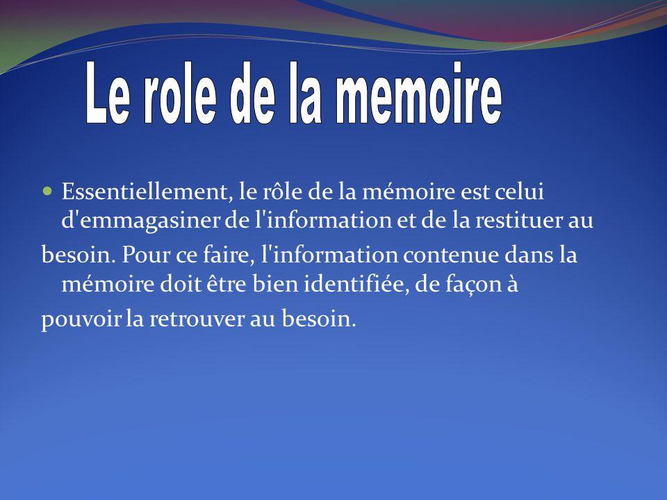 Le role de la memoire Essentiellement, le rôle de la mémoire est celui d emmagasiner de l information et de la restituer au.
