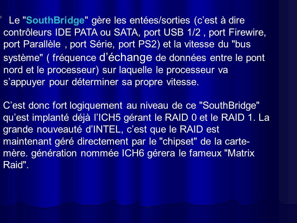 Le SouthBridge gère les entées/sorties (c'est à dire contrôleurs IDE PATA ou SATA, port USB 1/2 , port Firewire, port Parallèle , port Série, port PS2) et la vitesse du bus système ( fréquence d'échange de données entre le pont nord et le processeur) sur laquelle le processeur va