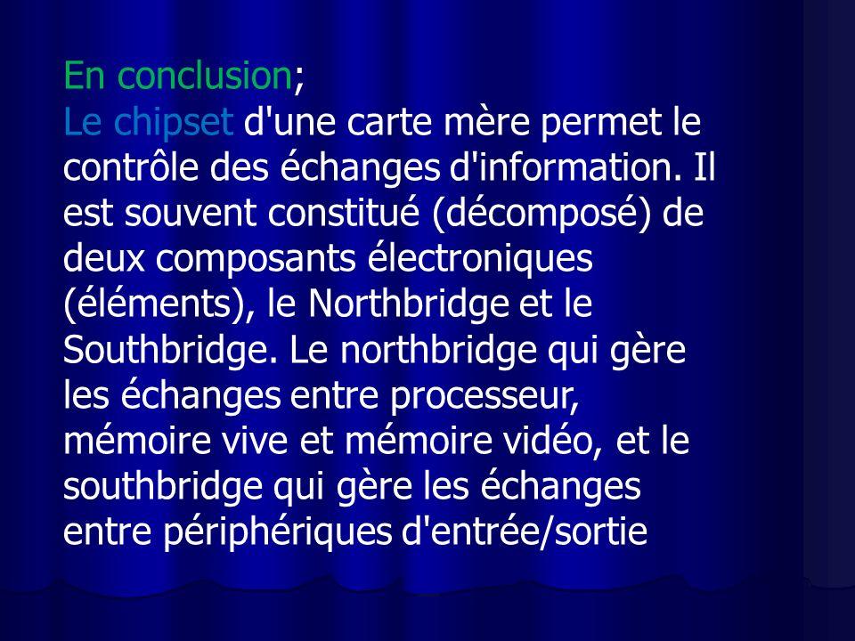 En conclusion; Le chipset d une carte mère permet le contrôle des échanges d information.