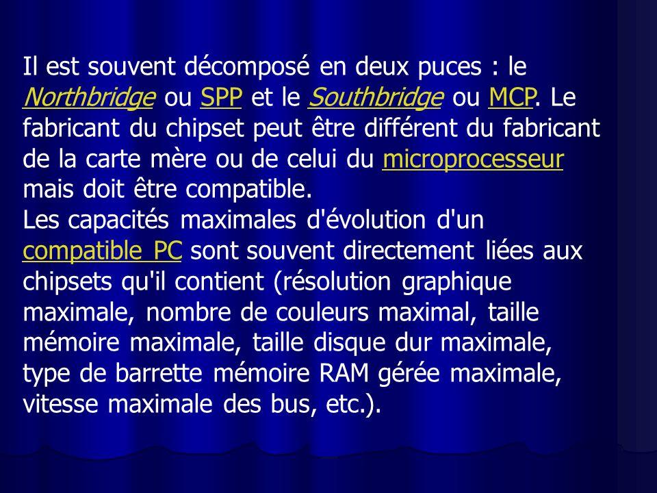 Il est souvent décomposé en deux puces : le Northbridge ou SPP et le Southbridge ou MCP. Le fabricant du chipset peut être différent du fabricant de la carte mère ou de celui du microprocesseur mais doit être compatible.