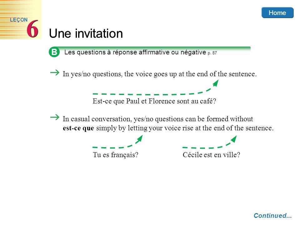 Home 6. LEÇON. Une invitation. B. Les questions à réponse affirmative ou négative p. 87.