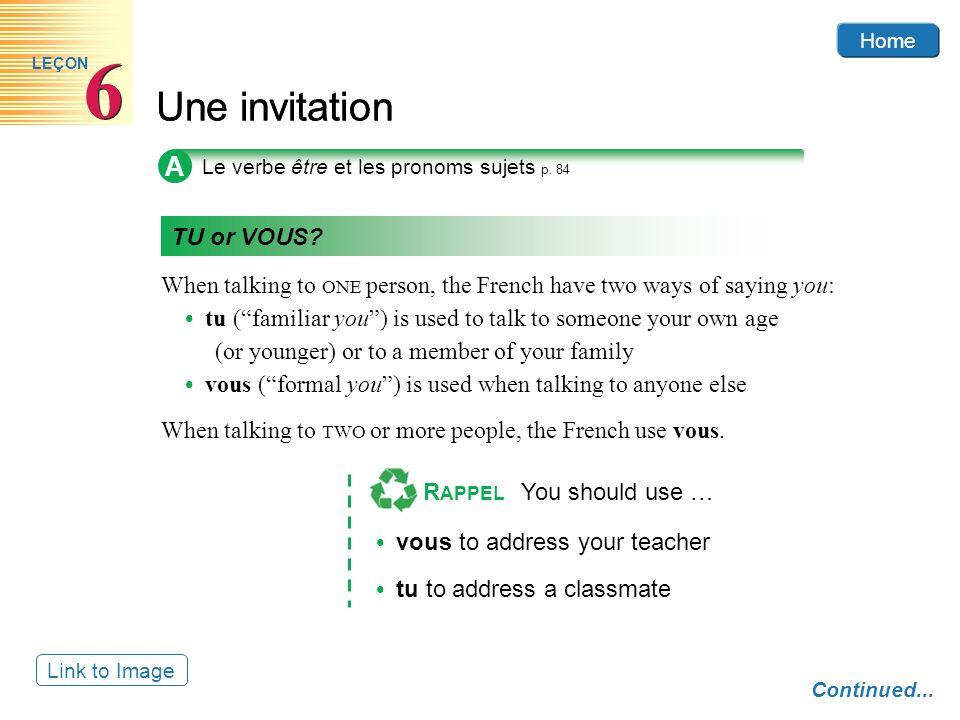 6 Une invitation A TU or VOUS