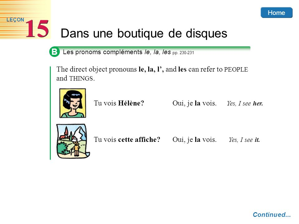 B Les pronoms compléments le, la, les pp The direct object pronouns le, la, l', and les can refer to PEOPLE and THINGS.
