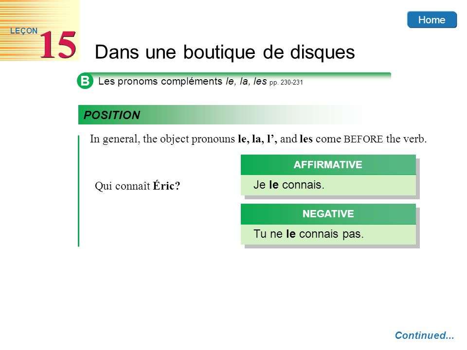 B Les pronoms compléments le, la, les pp. 230-231. POSITION. In general, the object pronouns le, la, l', and les come BEFORE the verb.
