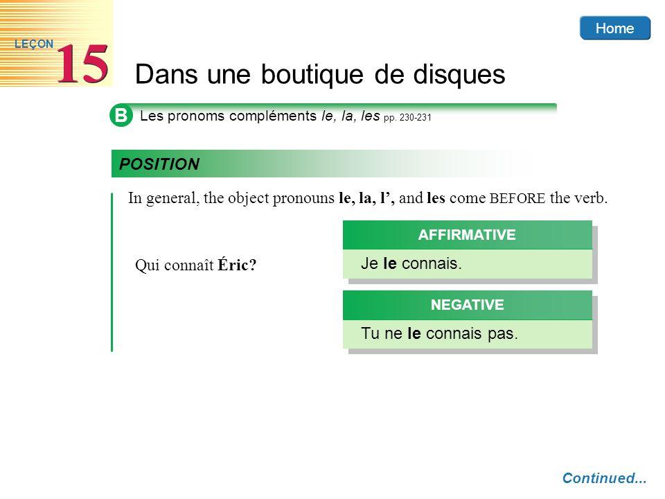 BLes pronoms compléments le, la, les pp. 230-231. POSITION. In general, the object pronouns le, la, l', and les come BEFORE the verb.