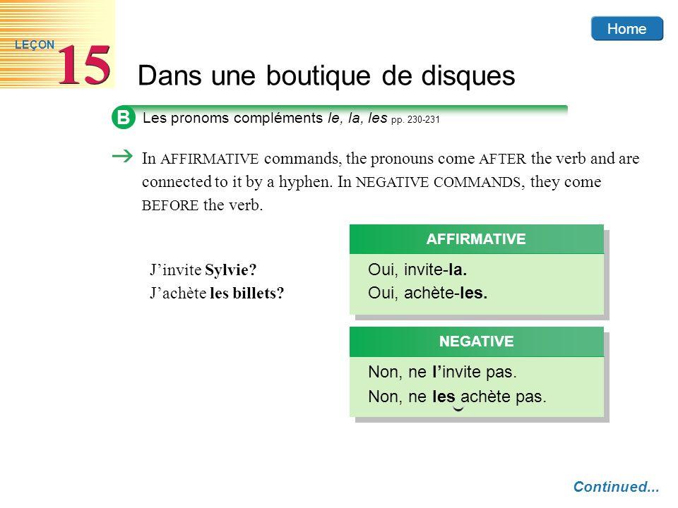 BLes pronoms compléments le, la, les pp. 230-231.