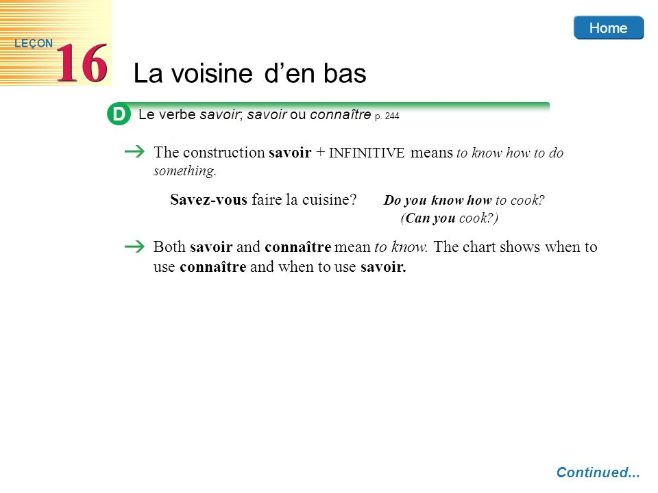 D Le verbe savoir; savoir ou connaître p. 244. The construction savoir + INFINITIVE means to know how to do something.