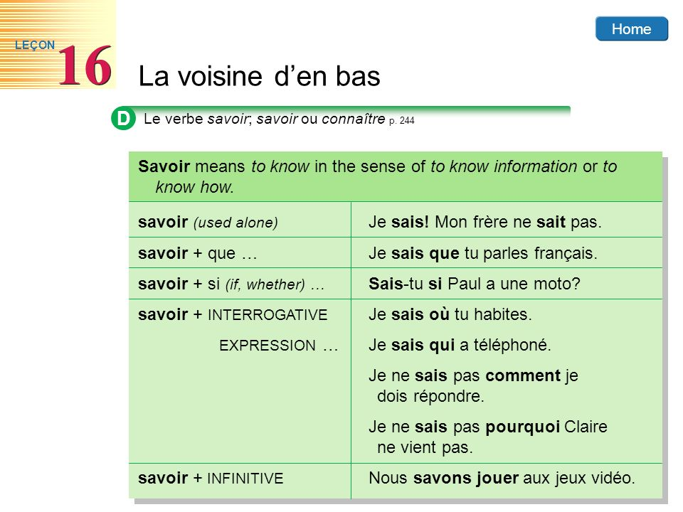 D Le verbe savoir; savoir ou connaître p. 244. Savoir means to know in the sense of to know information or to know how.