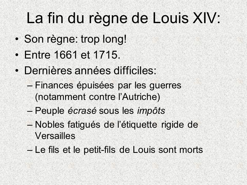 La fin du règne de Louis XIV: