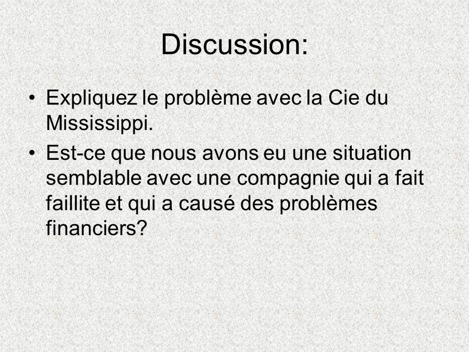 Discussion: Expliquez le problème avec la Cie du Mississippi.