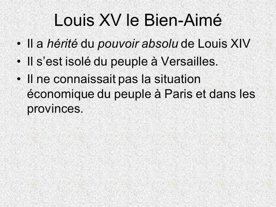 Louis XV le Bien-Aimé Il a hérité du pouvoir absolu de Louis XIV