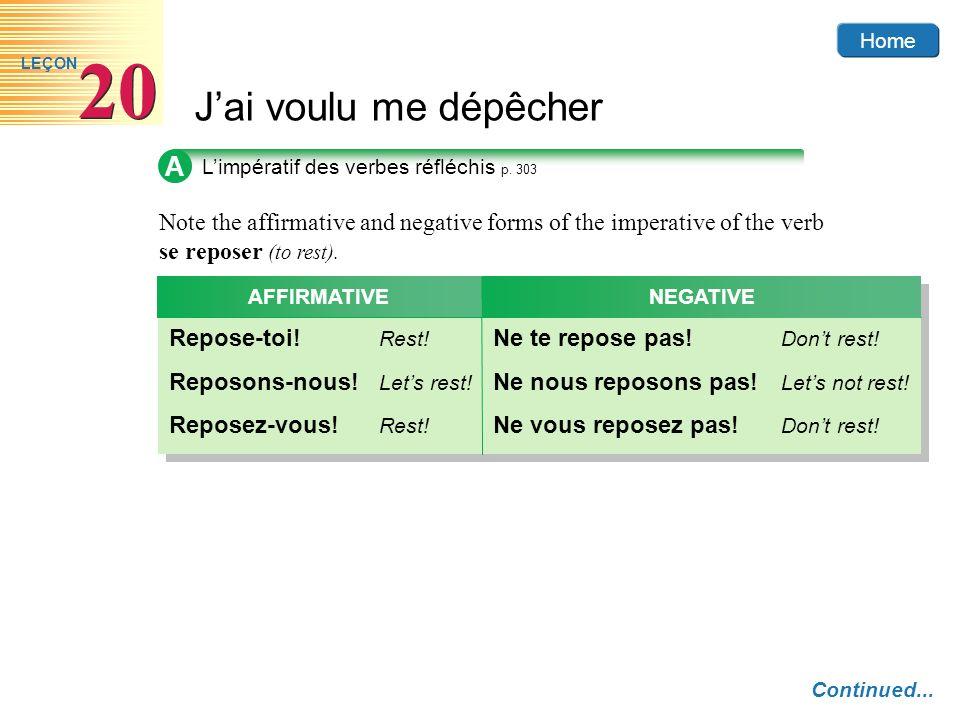 AL'impératif des verbes réfléchis p. 303. Note the affirmative and negative forms of the imperative of the verb se reposer (to rest).
