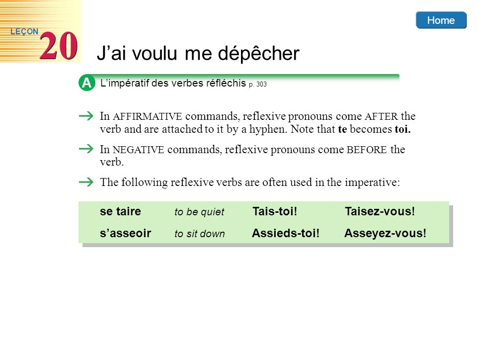 A L'impératif des verbes réfléchis p. 303.
