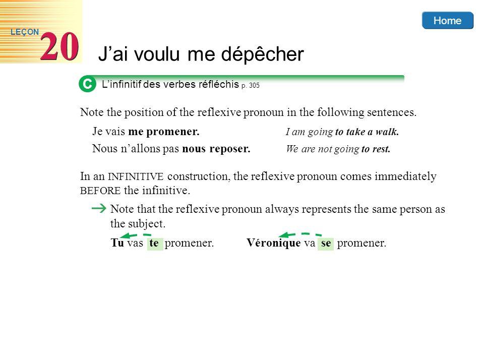 C L'infinitif des verbes réfléchis p. 305. Note the position of the reflexive pronoun in the following sentences.