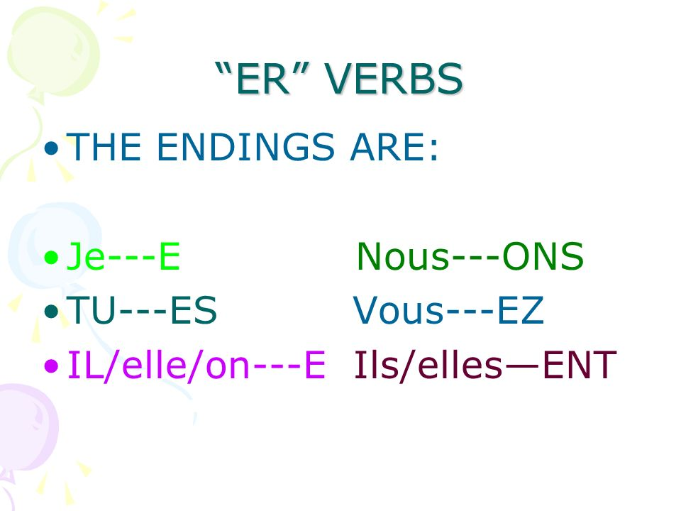 ER VERBS THE ENDINGS ARE: Je---E Nous---ONS TU---ES Vous---EZ