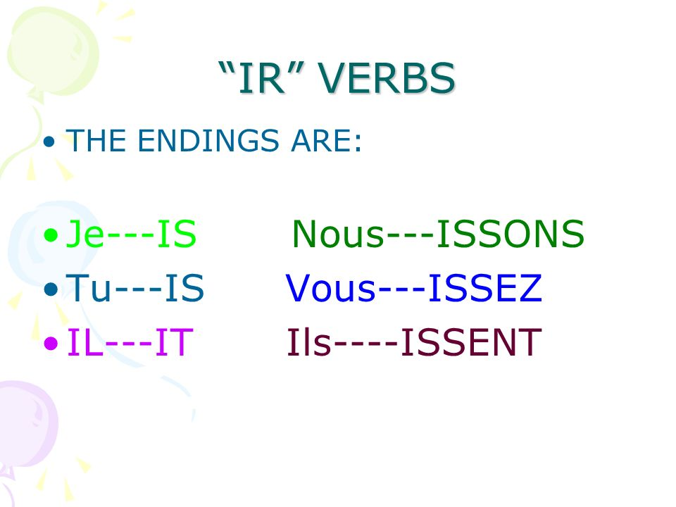 IR VERBS Je---IS Nous---ISSONS Tu---IS Vous---ISSEZ