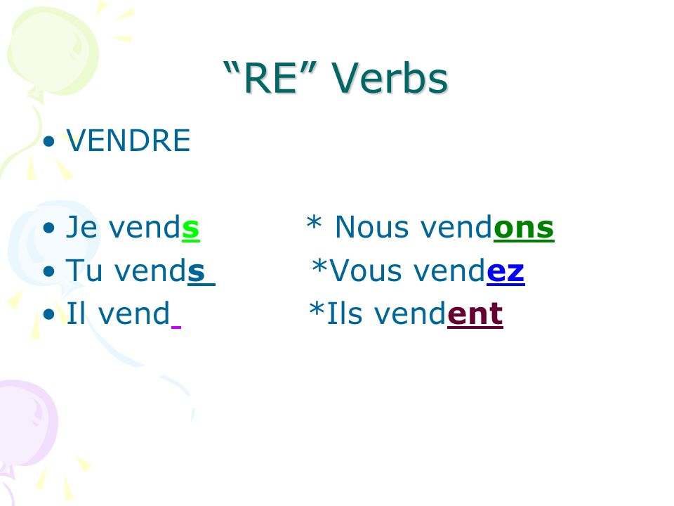 er ir and re verbs are part of the regular verbs in french ppt t l charger. Black Bedroom Furniture Sets. Home Design Ideas