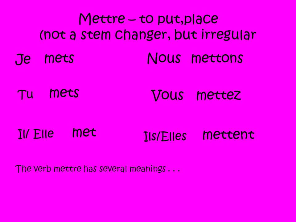 Mettre – to put,place (not a stem changer, but irregular