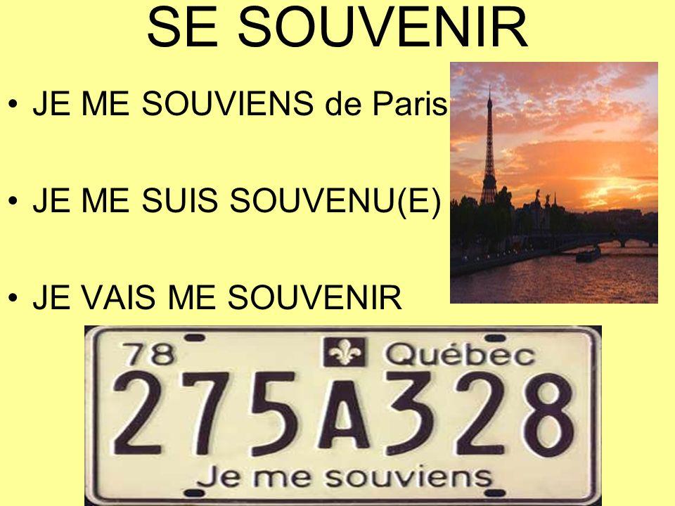 SE SOUVENIR JE ME SOUVIENS de Paris JE ME SUIS SOUVENU(E)