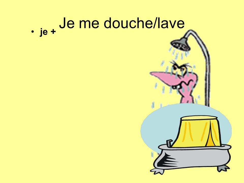 Je me douche/lave je +