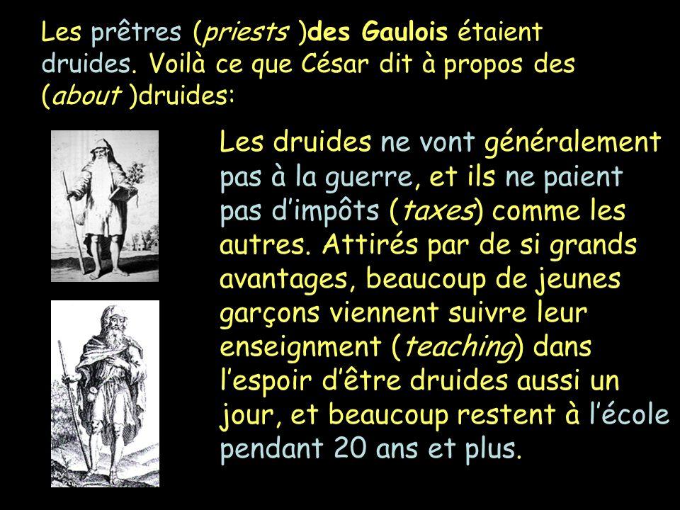 Les prêtres (priests )des Gaulois étaient druides