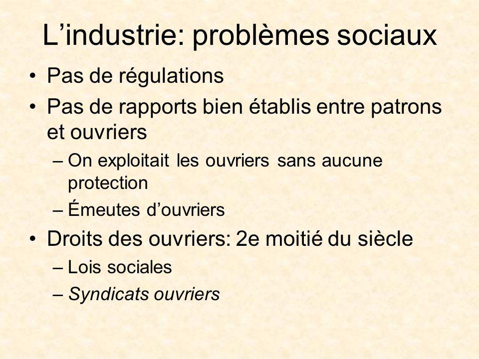 L'industrie: problèmes sociaux