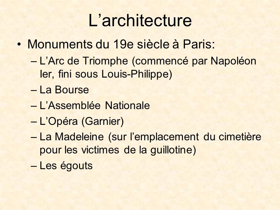 L'architecture Monuments du 19e siècle à Paris: