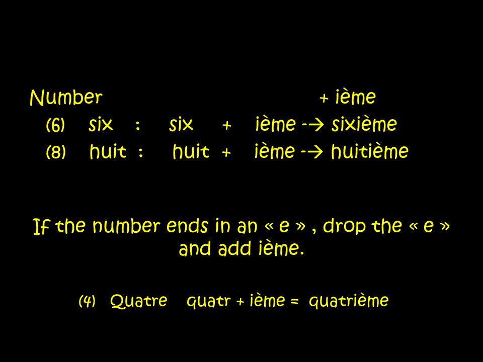 (6) six : six + ième - sixième (8) huit : huit + ième - huitième