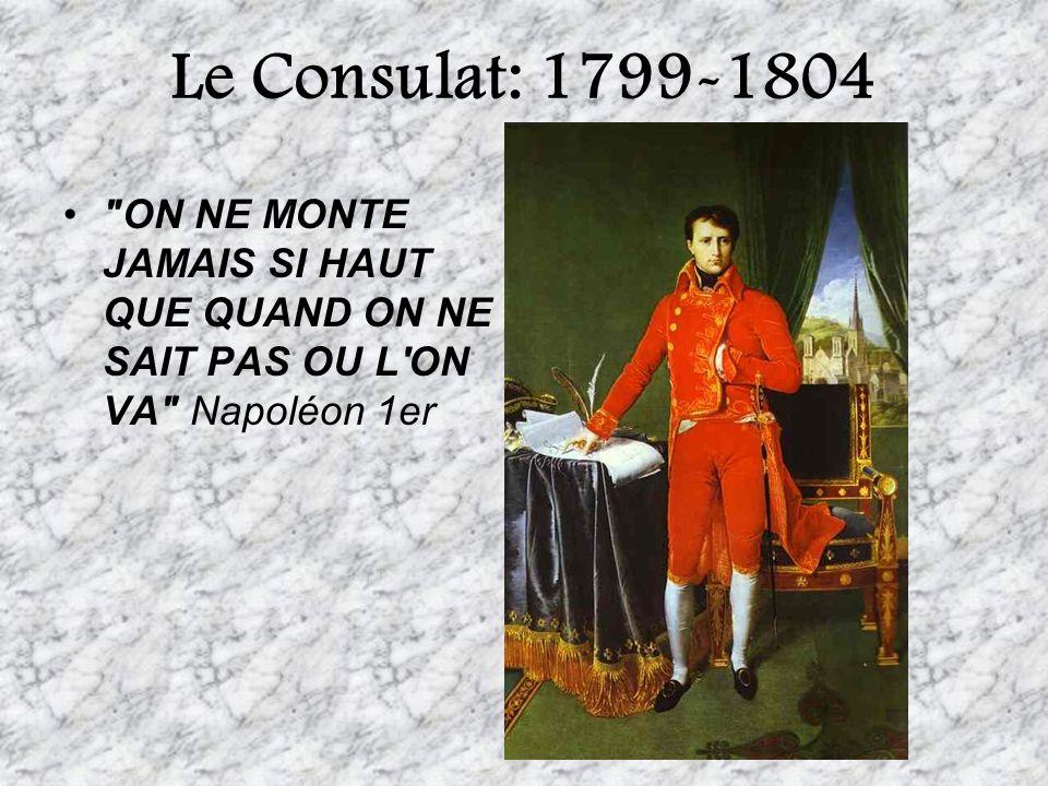 Le Consulat: 1799-1804 ON NE MONTE JAMAIS SI HAUT QUE QUAND ON NE SAIT PAS OU L ON VA Napoléon 1er.